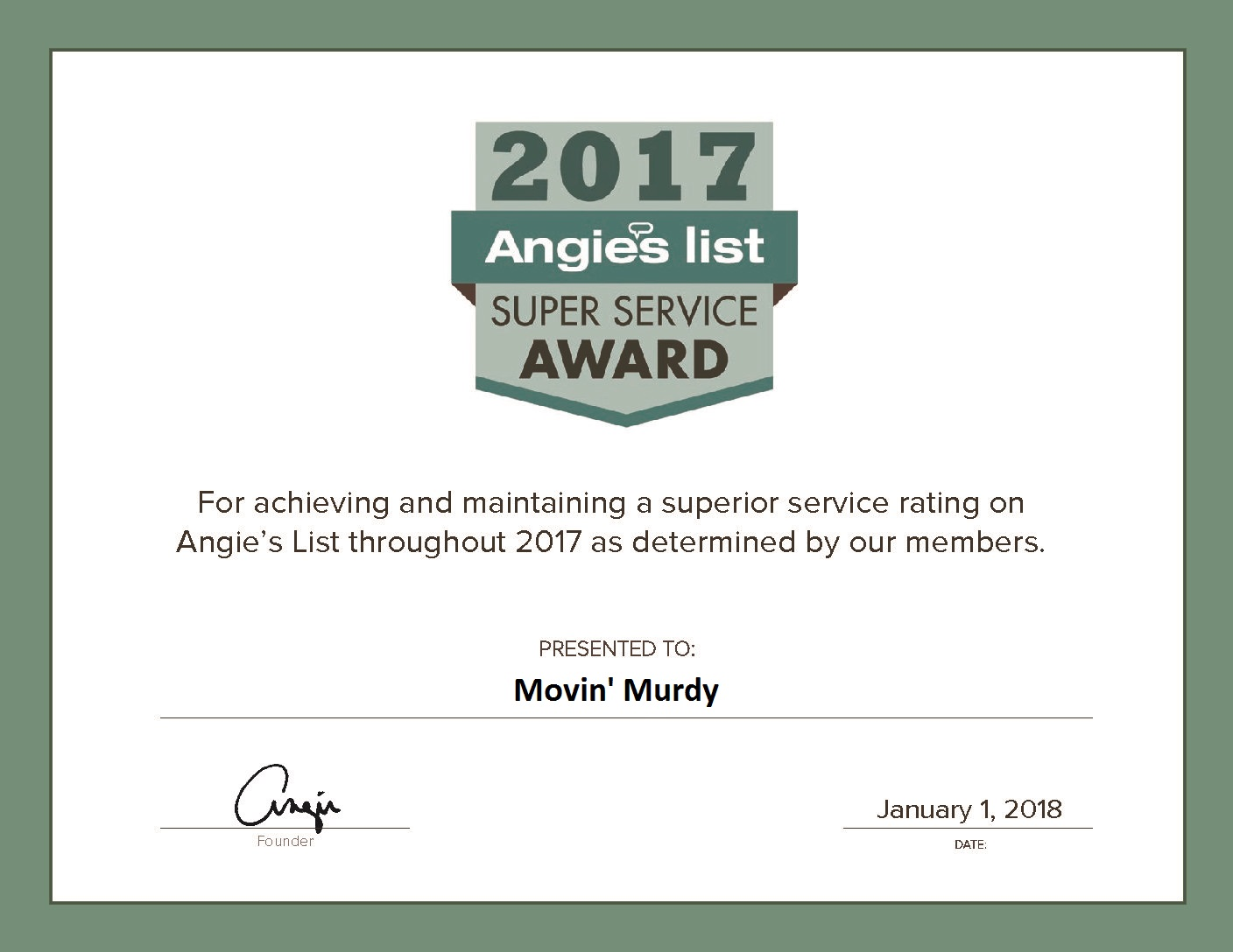 Movin' Murdy is proud to announce that their exceptional relocation Pittsburgh services have achieved the SSA award from Angie's List.