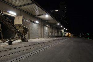 storage unit at night