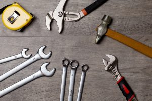 Tools on the table used for building a man cave