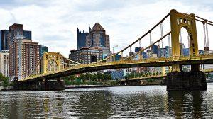 a yellow bridge in Pittsburgh