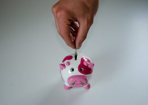 hand putting money in the piggy bank