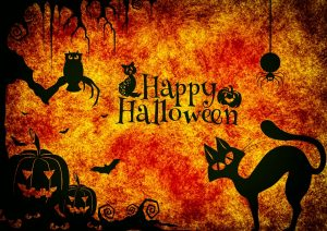 A card that says `Happy Halloween.`