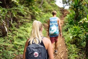 Two people hiking, which is one of the best outdoor activities in Pittsburgh.