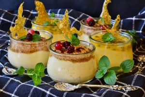 Five cups of creme brulee.