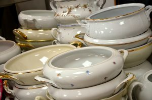Stacks of white bowls.
