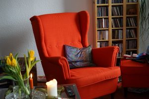 A red armchair