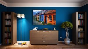 Blue wall and a painting