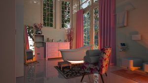 Home improvement projects to avoid, such as luxury bathroom with tub, chair, mirror and pink curtains.