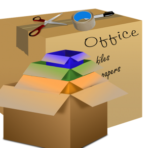 Open labeled boxes