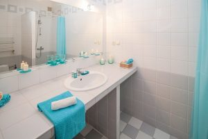 Bathroom sink with toiletries