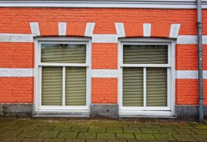 Orange facade with two windows
