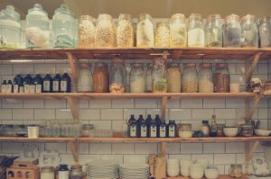 organize a new kitchen - shelves in the kitchen with food