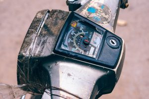 Damaged front part of the motorcycle
