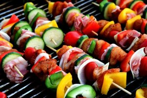 Vegetables and meat on a barbecue