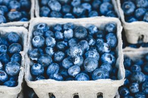 Blueberries in a container.