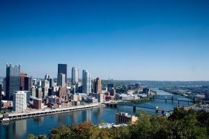 An aerial view of Pittsburgh.