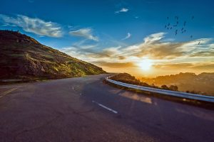 Long road and the sunset