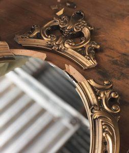 Broken vintage mirror