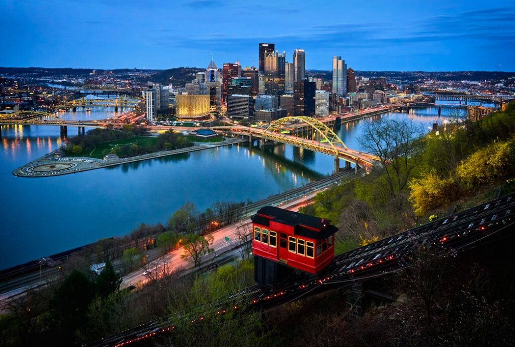 Pittsburgh by night, Duquesne Incline in front.